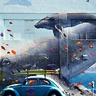 BLUE WHALES  AND VOLKSWAGEN BEETLE by Larry Butterworth
