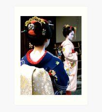 Geisha girls in Kyoto Art Print