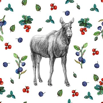 Moose with berries by stasia-ch