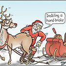 Santa installing a hand-brake. by Jed Dunstan