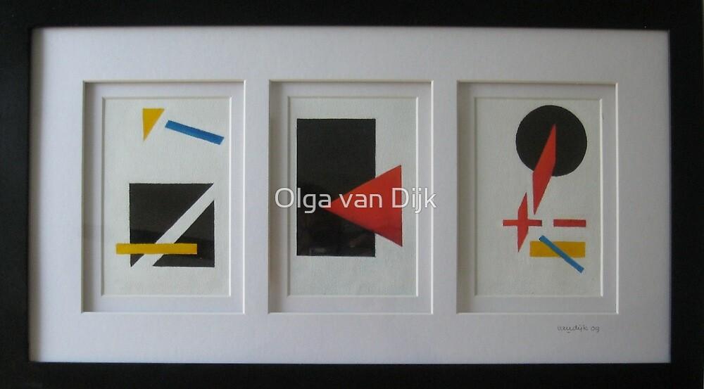 Suprematism (Triptych) by Olga van Dijk