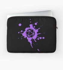 Purple 20 Sided Dice Paint Splatter Spraypaint Dungeons Crawler and Dragons Slayer Tabletop RPG Addict Laptop Sleeve