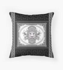Lion Head with Greek Key Trim Throw Pillow