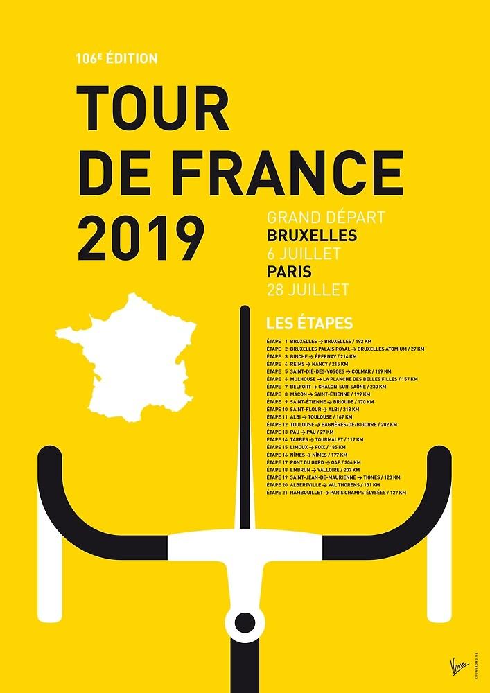 MEIN TOUR DE FRANCE MINIMALES POSTER 2019 von ChungKong Art