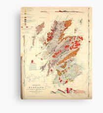 Vintage Scotland Geological Map (1865) Canvas Print