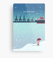 Hamburg im Winter Metalldruck