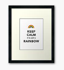 Keep Calm Rainbow on white Framed Print