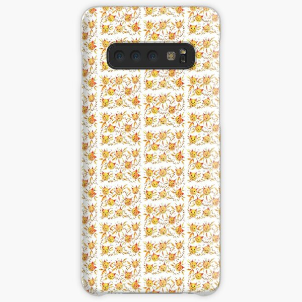 Yellow pattern with cats and leaves - happy yellow cats Samsung Galaxy Snap Case