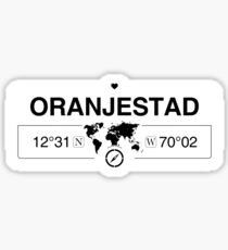 Oranjestad Aruba with World Map Coordinates GPS and Compass    Sticker