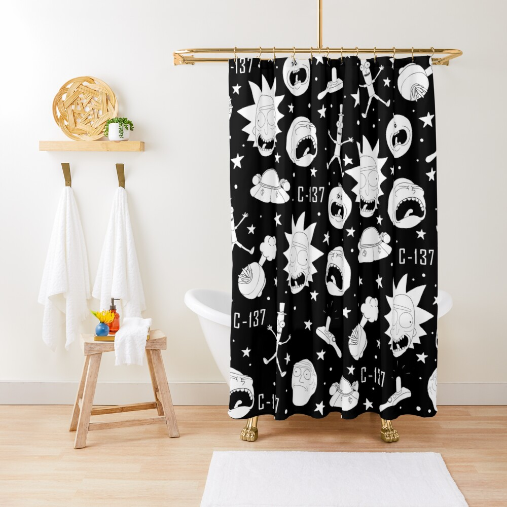 Black and white Rick and Morty pattern Shower Curtain