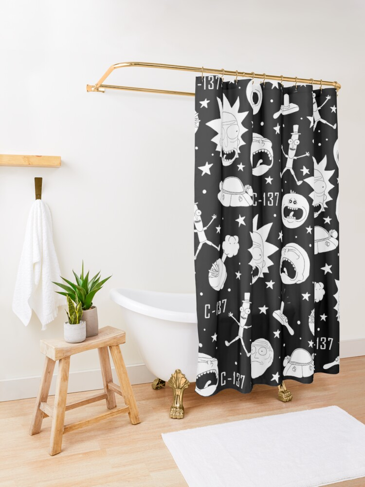 Alternate view of Black and white Rick and Morty pattern Shower Curtain