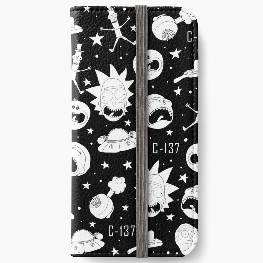 Black and white Rick and Morty pattern iPhone Wallet