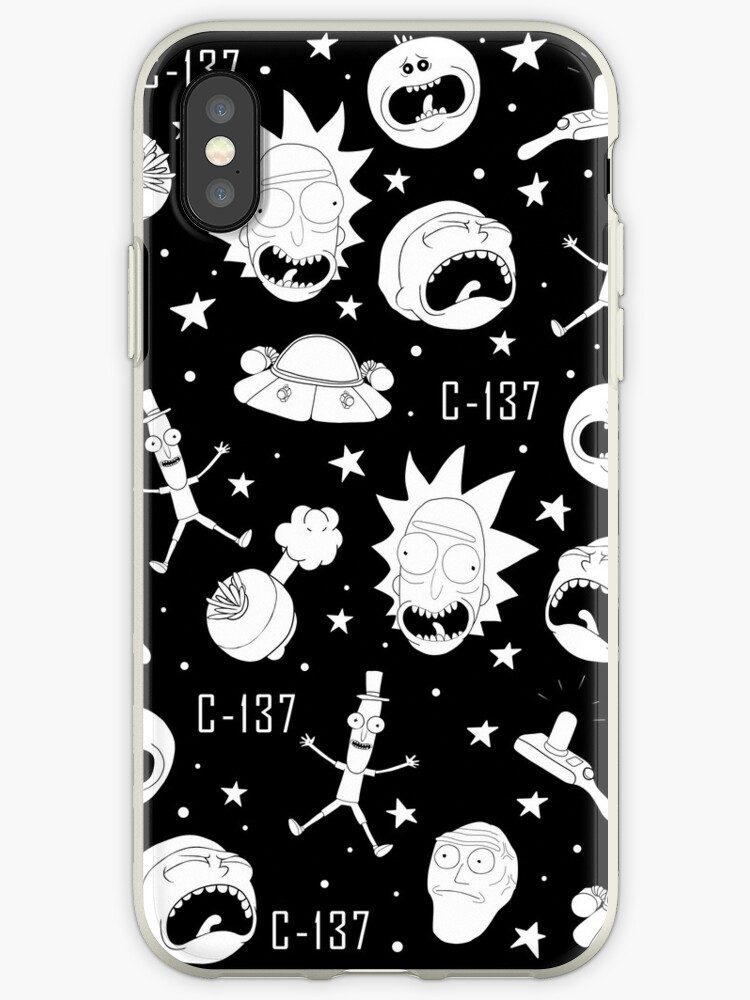 buy online a314c 2e9aa 'Black and white Rick and Morty pattern' iPhone Case by ValentinaHramov