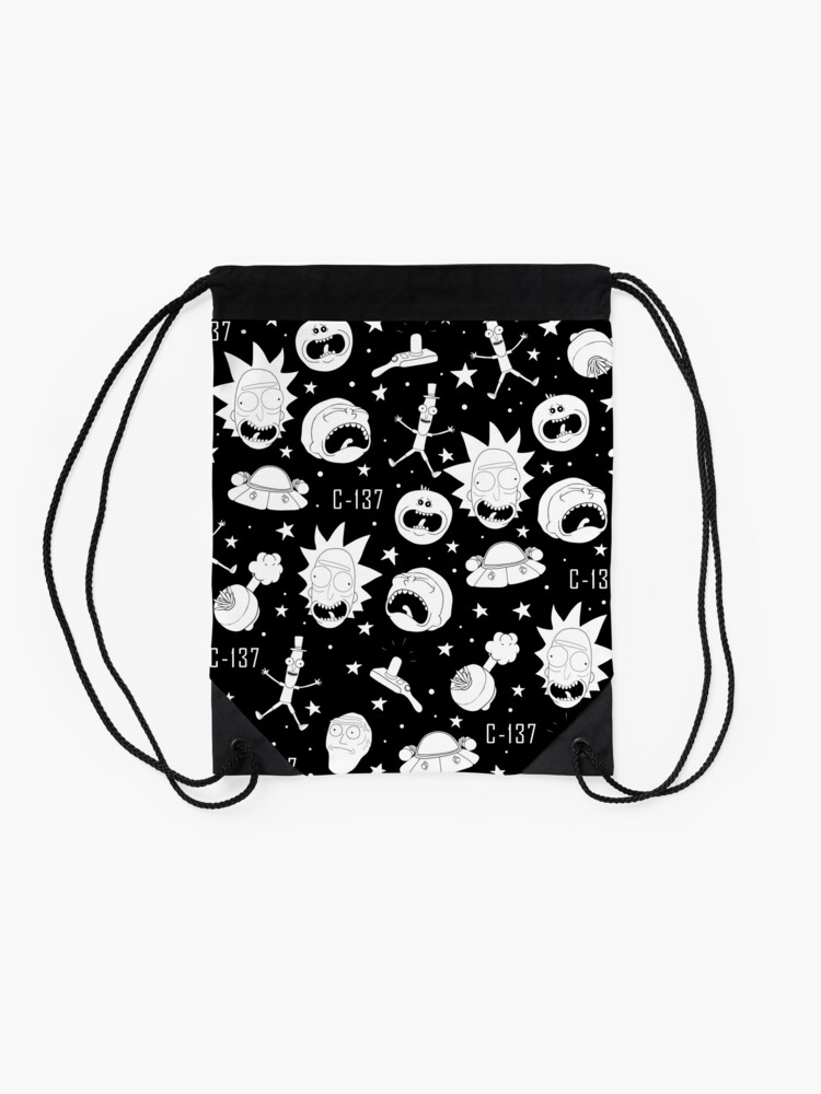 Alternate view of Black and white Rick and Morty pattern Drawstring Bag