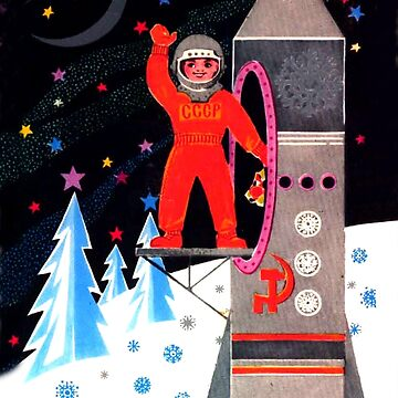 Space race greeting Soviet card by AmorOmniaVincit
