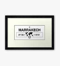 Marrakech Morocco with World Map Coordinates GPS   Framed Print