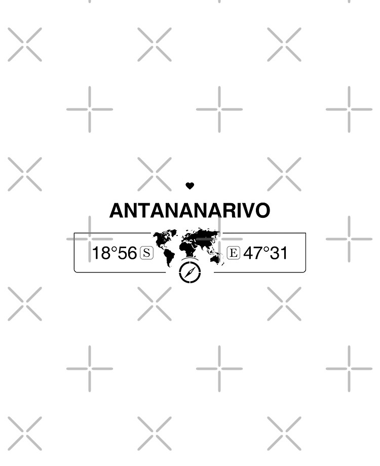 Antananarivo Madagascar with World Map Coordinates GPS | iPad Case & Skin