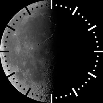 Waning crescent moon on black sky clock by LukeSzczepanski
