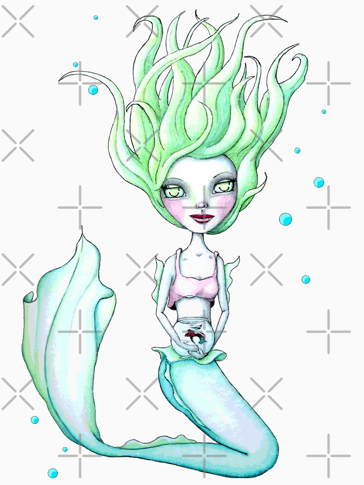Miss Mermie and Her Pet Fish (Blue and Green Version) by LittleMissTyne
