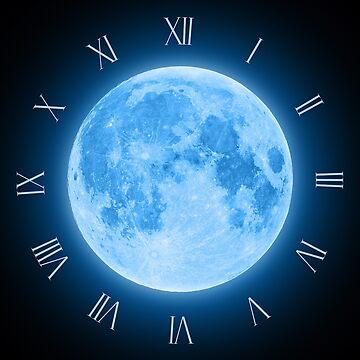 Blue Super Moon Glowing With Blue Halo Clock by LukeSzczepanski