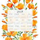2019 calendar with watercolor flowers by blursbyai