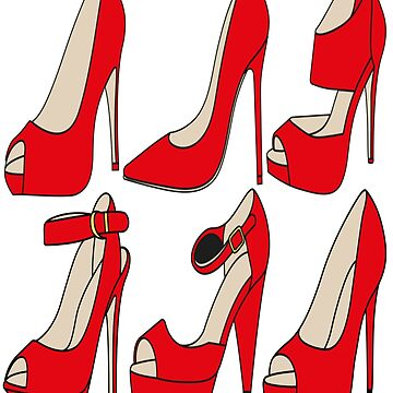 Red Shoes High Heels by JenBoyte