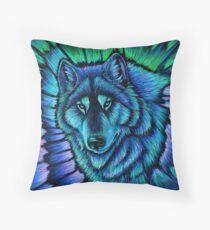 Wolf Aurora Blue Colorful Fantasy Spirit Throw Pillow