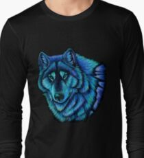 Wolf Aurora Blue Colorful Fantasy Spirit Long Sleeve T-Shirt