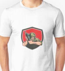 World War Two American Soldier Field Radio Shield T-Shirt