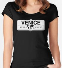 Venice Veneto with World Map Coordinates GPS  Fitted Scoop T-Shirt