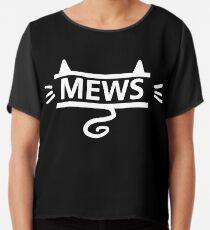 mews - white on black Chiffon Top