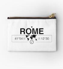 Rome Lazio with World Map Coordinates GPS  Zipper Pouch