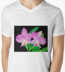 Rosa Blumen In Schwarz T-Shirt mit V-Ausschnitt für Männer