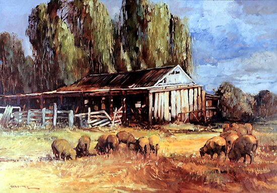 Old Slab Yards and Sheep - Australian Rural Scene  by Tanya Zaadstra