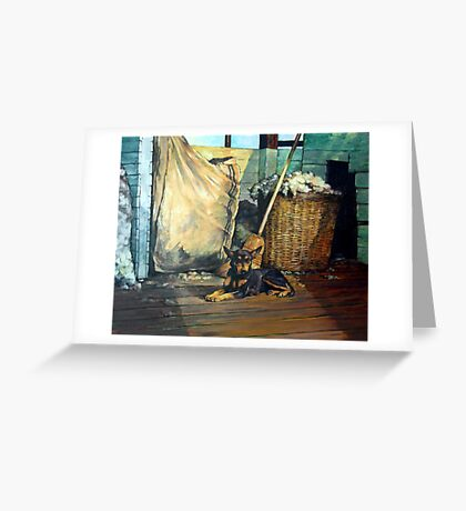 The Master of the Shed - Australian Kelpie series Greeting Card
