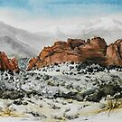 Original watercolor of Garden of the Gods by Bryan Duddles