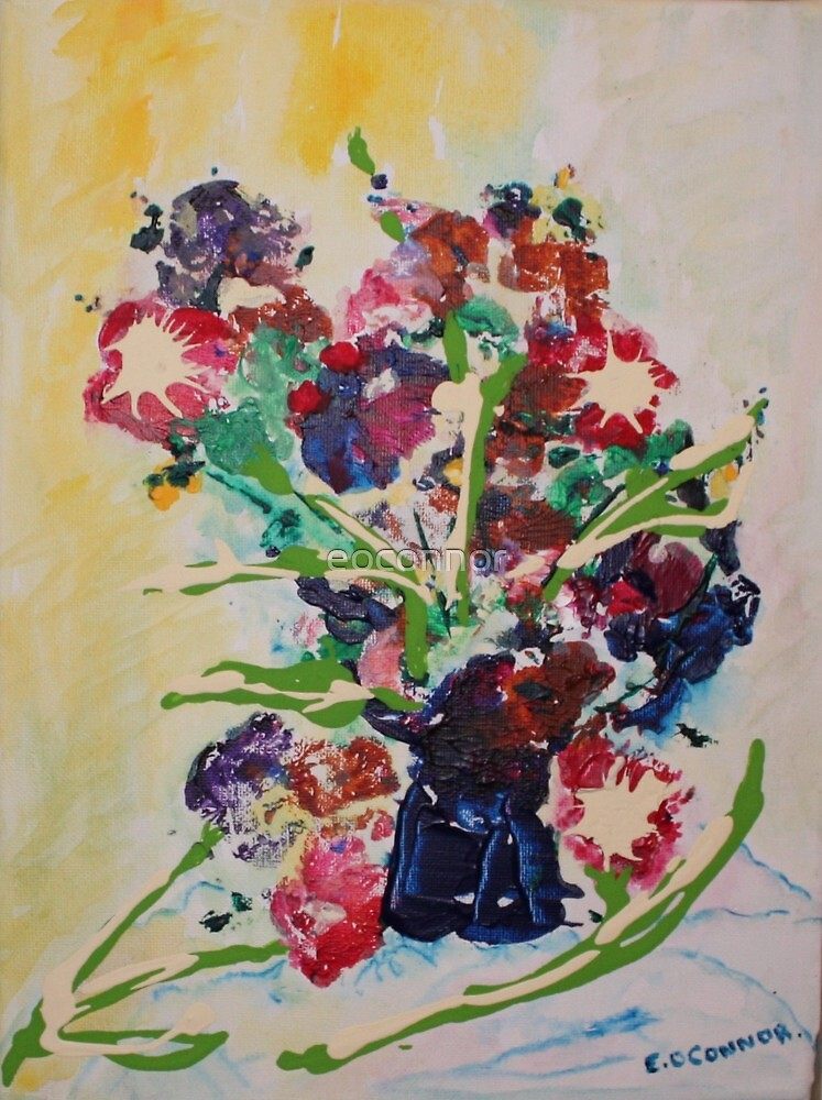 Cottage posies   8x10 acrylic on canvas by eoconnor
