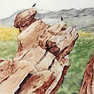 Original watercolor of Red Rocks by Bryan Duddles