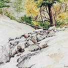 Original watercolor of Helen Hunt Falls by Bryan Duddles