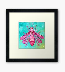 Pink Bee - Acrylic Painting Framed Print