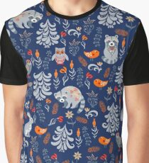 Fairy forest with animals and birds. Raccoons, owls, bunnies and little chick. Graphic T-Shirt