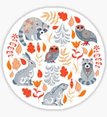 Fairy forest with animals and birds. Raccoons, owls, bunnies and little chick. Sticker