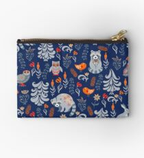 Fairy forest with animals and birds. Raccoons, owls, bunnies and little chick. Studio Pouch
