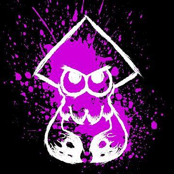 Splatoon White Squid on Purple Splatter by Ironmoth
