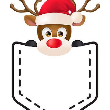 Reindeer in Santa Hat Peeping Out by salah944