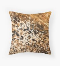 Rustic Chic Country Western Longhorn Cowhide Fur Prints Throw Pillow