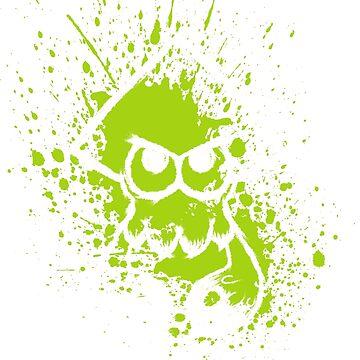 Splatoon White Squid on Green Splatter Mask by Ironmoth