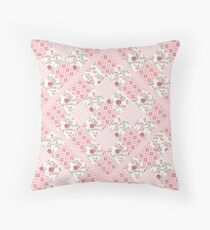 Pink patchwork patterned squares Throw Pillow