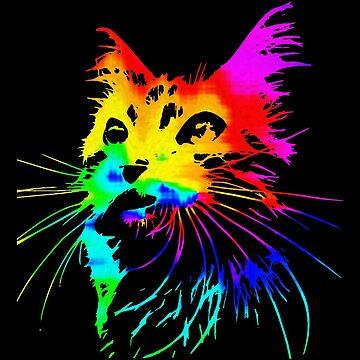 Tie Dye cat Splash Art by chardo55