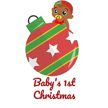 African American Princess 1st Christmas Ornament T-Shirt and Sticker by EbethS